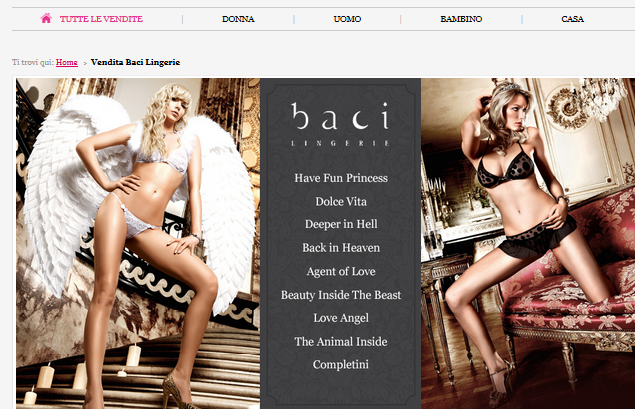 Outlet Baci lingerie: l'intimo che ti affascina online