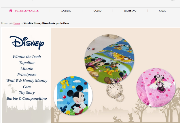 OUTLET BIANCHERIA DISNEY SHOWROOMPRIVE